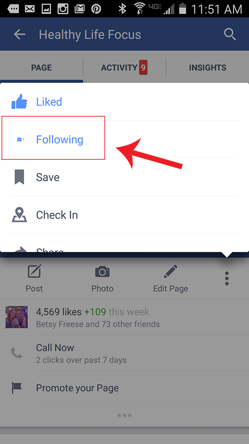 android facebook following fan pages setting change