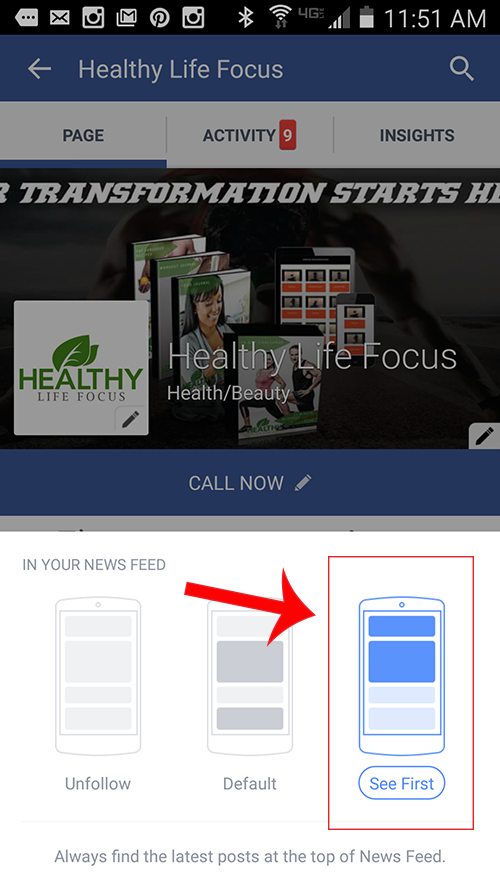 see first android facebook business fan page setting