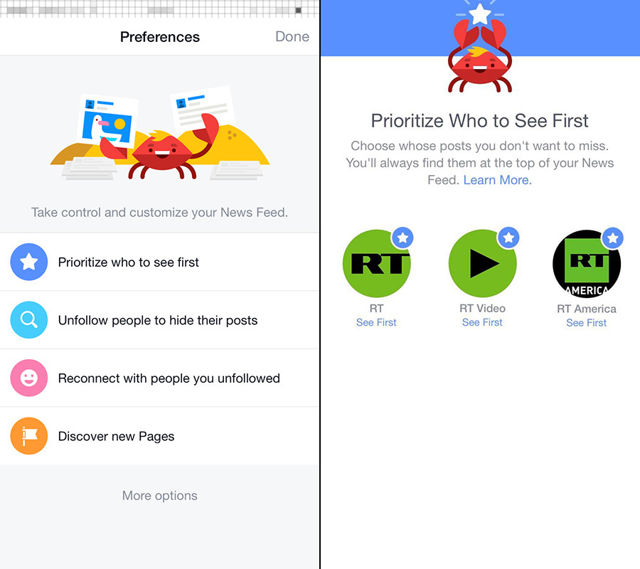 iphone ios facebook news feed preferences changes